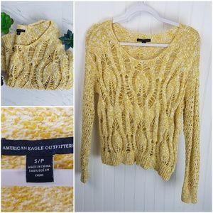 American Eagle Mustard Yellow Open Knit Sweater